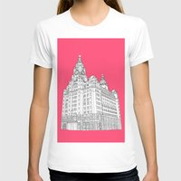 liverpool T-shirts featuring Liverpool Liver Building  by sarah illustration