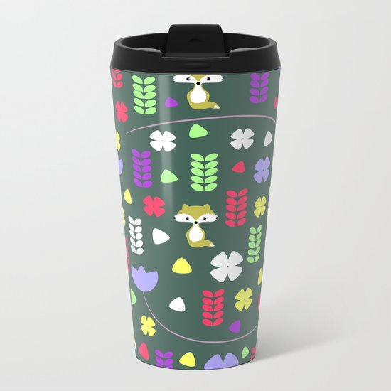 Foxes, flowers and more Metal Travel Mug