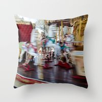 carousel Throw Pillows featuring Carousel by Sébastien BOUVIER