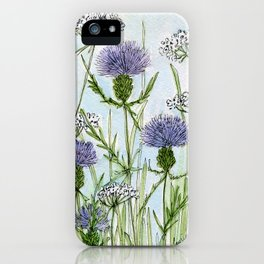 Thistle White Lace Watercolor iPhone Case