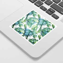 Blue Jungle Leaves, Monstera, Palm #society6 Sticker