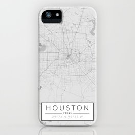 Houston Map - Black and White (Light) iPhone Case