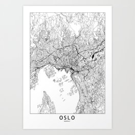 Oslo White Map Art Print