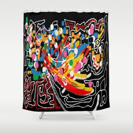 Mural abstract 4 Shower Curtain