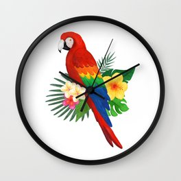 Tropical Macaw Floral Watercolor Wall Clock