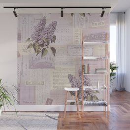 Vintage Flyers and Lilacs Wall Mural