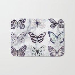 Black and white marble butterflies Bath Mat