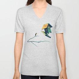 Flying Bird...house Unisex V-Neck