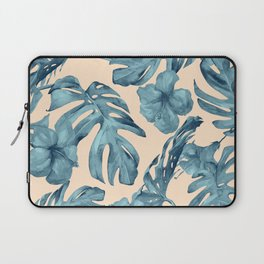 Island Vacay Hibiscus Palm Pale Coral Teal Blue Laptop Sleeve