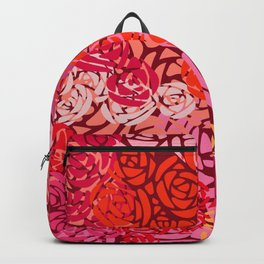 Colorful Overlapping Roses on Roses Print Design 4 Backpack