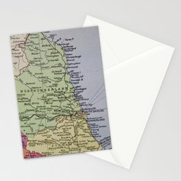 Vintage Map of Northumberland Stationery Cards