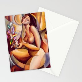Yellow Nude Female Form Composition masterpiece by Antonio Diego Voci Stationery Cards