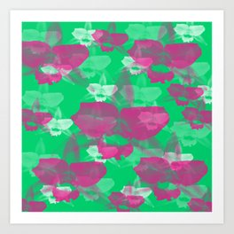 Orchid Flowers Print Pattern /Green Background  Art Print