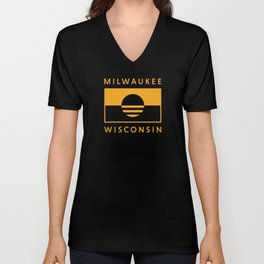 Milwaukee Wisconsin - Gold - People's Flag of Milwaukee Unisex V-Neck