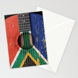 Old Vintage Acoustic Guitar with South African Flag Stationery Cards