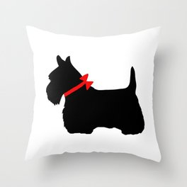 Scottie Dog with Red Bow Throw Pillow