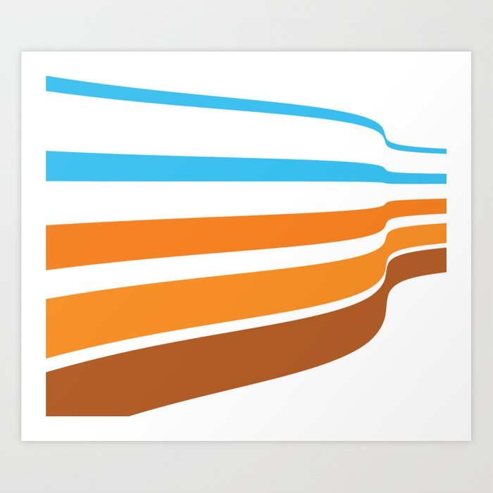Blue Orange And Brown Lines On A White Background Abstract Art Art Print By Brucealmighty