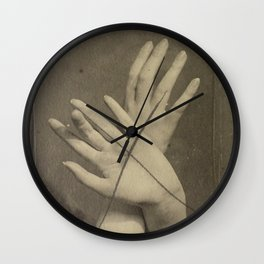 Hands in Sepia Wall Clock