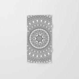 Black and White Feather Mandala Boho Hippie Hand & Bath Towel