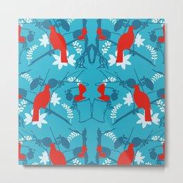 NZ Native Red Kereru (Wood Pigeon) and Fantail on Blue Metal Print