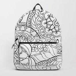 outline zen floral pattern 2 Backpack
