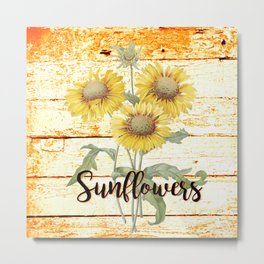 Country Sunflowers on wood Metal Print