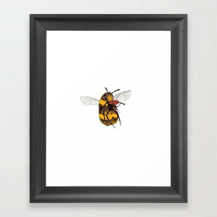 Bee tries Violin Gerahmter Kunstdruck