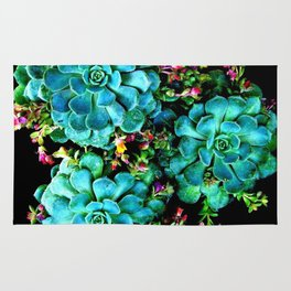 Beautiful Autumn plant green, blue Rug