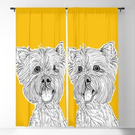 West Highland Terrier Dog Portrait ( yellow background ) Blackout Curtain