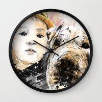 best friends Wall Clocks featuring Best Friends by Fresh Doodle - JP Valderrama