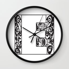 Northwest Pacific Coast American Native White Letter E Wall Clock