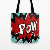 comic book Tote Bags featuring Comic Book: Pow! by Ed Pires