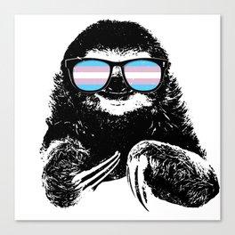 Pride Sloth Transgender Flag Sunglasses Canvas Print