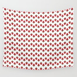 Spring Strawberries on White Wall Tapestry