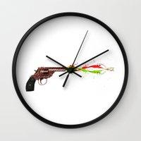 gun Wall Clocks featuring Gun by Steve Mac