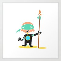 super hero Art Prints featuring Super Hero by La Lanterne
