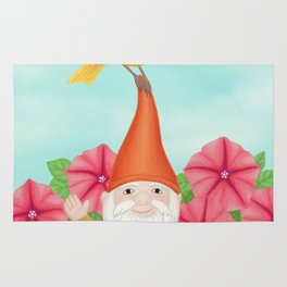 gnome with yellow warbler and petunias Rug