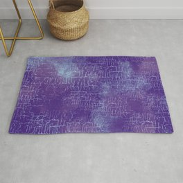 Abstract Grunge Art in Violet Purple and Blue Rug