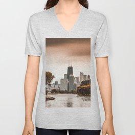 chicago skyline Unisex V-Neck