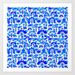 Exotic Garden Blue Art Print