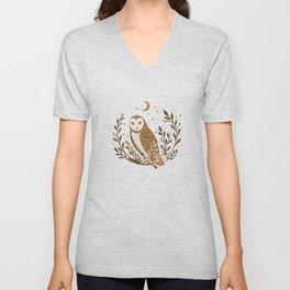 Owl Moon - Gold Unisex V-Neck