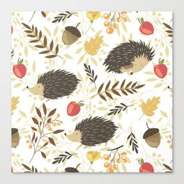 Cute hedgehogs Canvas Print