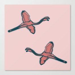 Pink Flamingo watercolor pattern pink Canvas Print