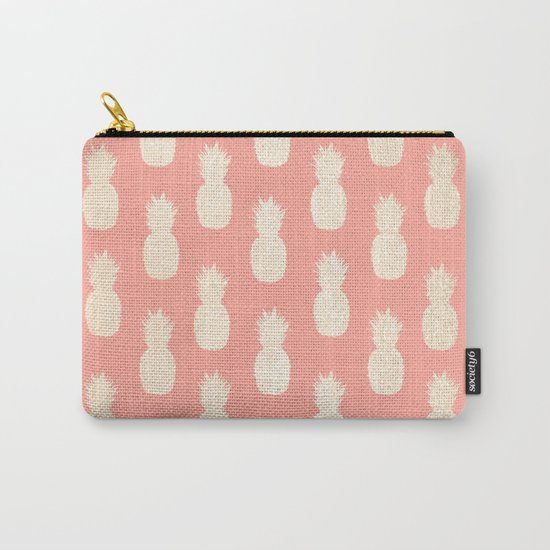 Gold Pineapples on Coral Pink by followmeinstead