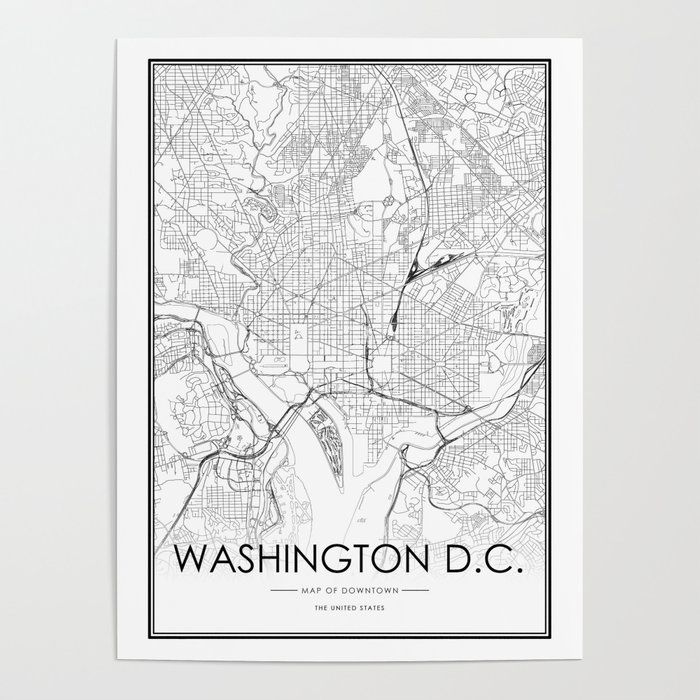 Washington DC City Map United States White and Black Poster by victorialyu