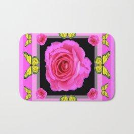 Lavender Fuchsia Pink Rose Butterfly Art Bath Mat
