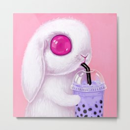 Bunny Loves Bubble Tea Metal Print