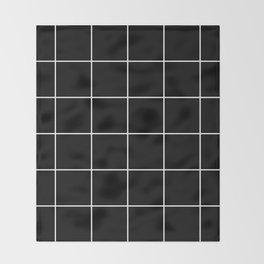 white grid on black background - Throw Blanket