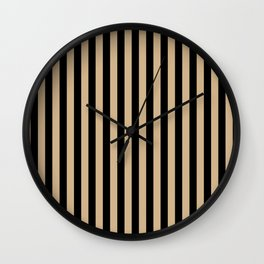 Tan Brown and Black Vertical Stripes Wall Clock