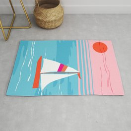 Mellow Out - memphis throwback retro classic neon yacht boating sailboat ocean sea 1980s 80s pop art Rug